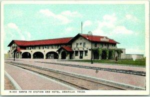 Vintage Amarillo, Texas FRED HARVEY Postcard SANTA FE STATION AND HOTEL Depot