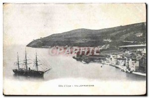 Old Postcard Villefranche Sur Mer Boat