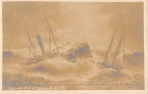 Atlantic City New Jersey Alberta Ship Wreck Real Photo Antique Postcard K40807