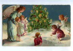 240945 X-MAS Christmas Winged ANGEL near Tree Vintage Color PC