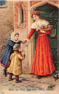 Lords Prayer~Give Us This Day Our Daily Bread~Poor Children at Door~Emboss~#350