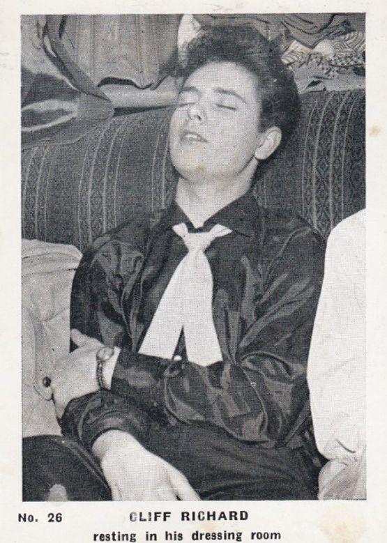 Cliff Richard Sleeping Dressing Room Rare Vintage Cigarette Photo