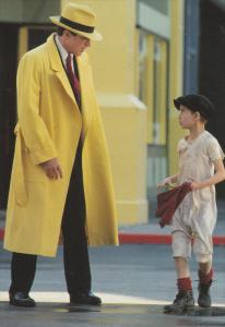 Warren Beaty as Dick Tracy w/ Charlie Korsmo as Kid from Film Dick Tracy, 1990