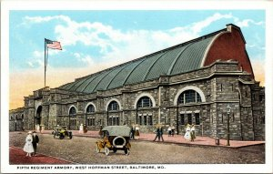Baltimore MD Postcard Fifth Regiment Armory Hoffman St Old Cars People Flag