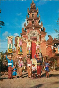 Indonesia balinese women with offerings Bali postcard