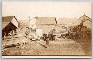 RPPC~Three Horse & Long Wood Slat Wagons~4 Barns & Lean-To-Famer House c1910