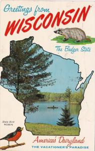 Greetings From Wisconsin With Map 1963