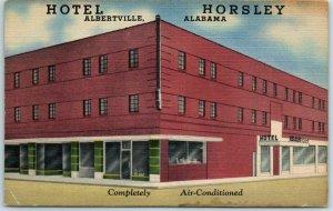Albertville, Alabama Postcard HOTEL HORSLEY Street View Curteich Linen c1940s
