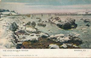 Avon River in Winter - Windsor NS, Nova Scotia, Canada - pm 1906