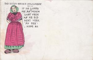 Dutch Bride's Soliloquy, If he luffs me as much last veek as he did next vee...