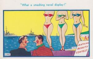 Ship Boat Beauty Queen Parade Miss World Sexy Sea Models Comic Humour Postcard