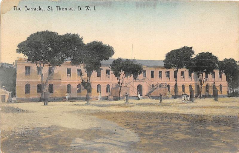 E56/ Postcard Carribean St Thomas D.W.I. West Indies c1910 The Barracks 6