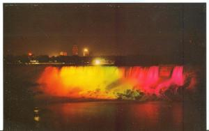 Illuminated view American Falls, taken from Niagara Falls, Canada, Postcard