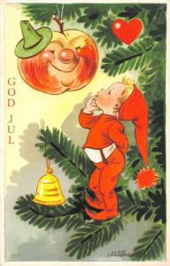 B95289 god jul fir apple  bell child christmas sweden illustrator lucie lundber