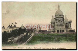 Old Postcard Paris Sacre Coeur Basilica on Montmartre