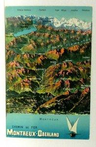 Switzerland Montreux-Oberland Railway Map Of Mountains Vintage Postcard