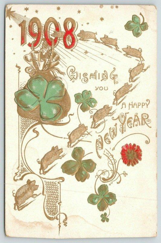 New Year~Pig Race to Large Letter 1908~Money Bag~Shamrock~Gold Leaf Art Nouveau