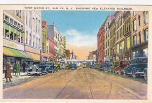 New York Elmira West Water Street Showing New Elevated Railroad