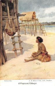 Papua New Guinea, A Papuan Village Korowai people, E.S. Hardy Signed