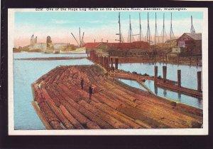 P1636 old unused postcard huge log raft the chehallis river aberdeen washington
