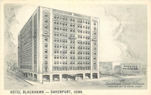 Davenport Iowa~Hotel Blackhawk~Parking Garage~B&W Artist Drawn~1950s Postcard