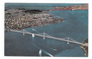 CA San Francisco Oakland Bay Bridge Aerial View Vintage 50s Stenberg Postcard