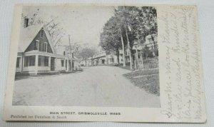 1907 Main Street, Griswoldville, Massachusetts MA Vintage Postcard Uncolored