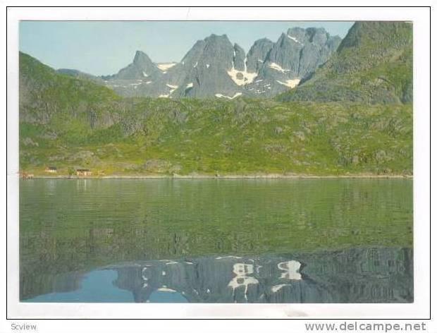 Norway, 50-60s, Raftsundet med  Gjeitgaljartind . Mountain Range Background. ...
