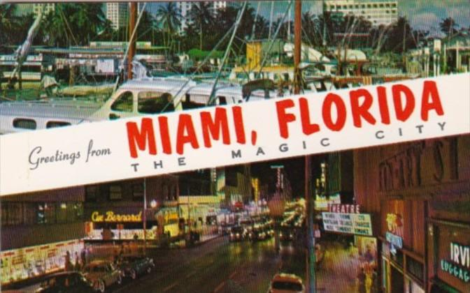 Florida Greetings From Miami The Magic City / HipPostcard