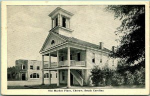 Cheraw, South Carolina Postcard Old Market Place Building View / 1951 Cancel