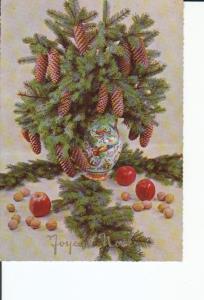 Postal 016874: JARRON CON PINO PI?AS Y MANZANAS - Felicitacion de Navidad