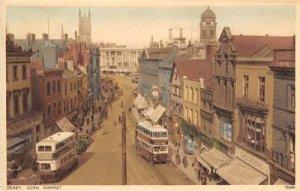 Derby Corn Market Double-Decker Buses c1930s Hand-Colored Vintage Postcard