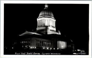 RPPC OLYMPIA, WA Washington  State CAPITOL at NIGHT  c40s Ellis  1622  Postcard