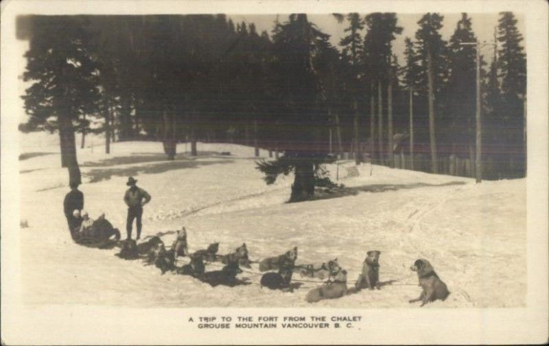 Dogsled Husky Dog Sled Team Grouse Mountain Vanvouver BC Real Photo Postcard