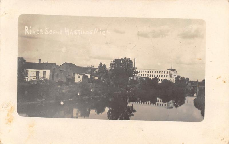 Hastings Michigan~Table Factory on Thornapple River~Home & Barn~1912 RPPC