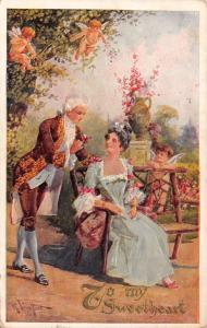 Valentine~Regency Couple in Garden~Cupids Fly~In Trees~Emboss~R Veenfliet Artist