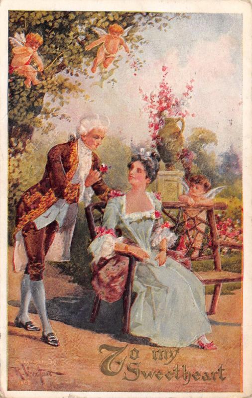 Valentine~Regency Couple in Garden~Cupids Fly~In Trees~Emboss~R Veenfliet Artist