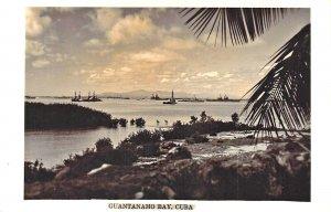 Guantanamo Bay Cuba Harbor View Ships Real Photo Postcard