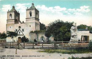 San Antonio Texas~Mission Conception Built 1713~1910 Postcard