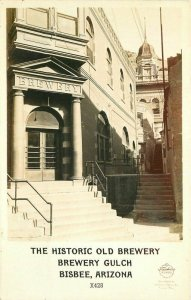 Bisbee Arizona Old Brewery Gulch Historic 1940s RPPC Photo Postcard 7039