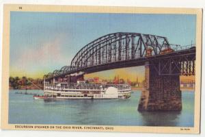 P213 JL old postcard ship streamer ohio river bridge