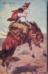 Cowboy & Horse Bucking Bronco Got It 1909