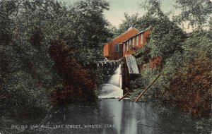 The Old Saw Mill, Lake St., Winsted, CT, Early Hands Colored Postcard, Unused
