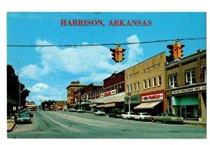 Street Scene Harrison Arkansas Postcard Ben Franklin Shoes Hwy 65 62 #82014