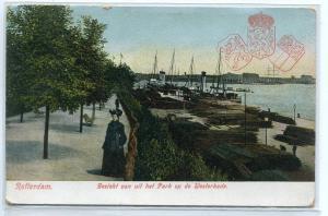 Park Westerkade Ship Docks Rotterdam Netherlands 1910c postcard