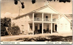 VIRGINIA CITY, Montana RPPC Real Photo Postcard FAIRWEATHER INN Hotel View 1950s