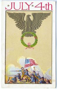 July 4th Soldiers Marching with Flag Wreath Eagle Chocolate Advertising Postcard