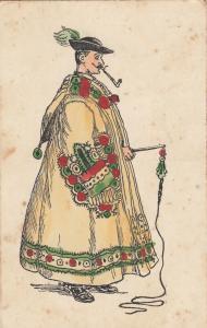 Hungarian type folk costume pipe smoker early postcard