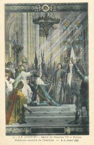 Postcard J-E Lenepveu Sacre de Charles VII a Reims mural painting Pantheon