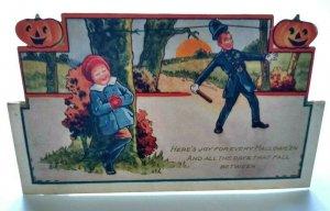 Halloween Postcard Whitney Die-cut Art Policeman Prank Stand Up Original Vintage